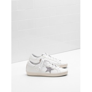 Women Golden Goose GGDB Superstar Leather Glitter Star In Laminated Silver Sneakers