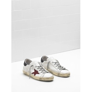 Women Golden Goose GGDB Superstar Leather Glitter Star Red Black Sneakers