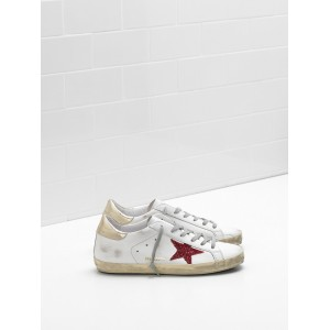 Women Golden Goose GGDB Superstar Leather In Red Star White Sneakers