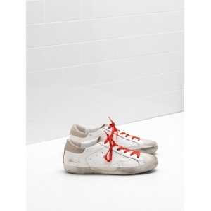 Women Golden Goose GGDB Superstar Leather Openwork Star Red Lace Sneakers