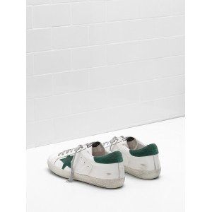 Women Golden Goose GGDB Superstar Leather Star In Green Star Sneakers