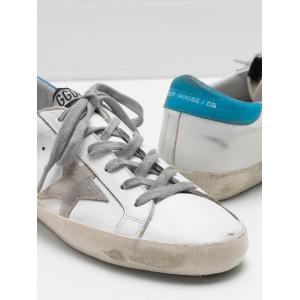 Women Golden Goose GGDB Superstar Leather Suede Star Logo Lettering Lack Blue Sneakers