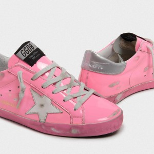 Women Golden Goose GGDB Superstar Light Pink With Silver Sneakers