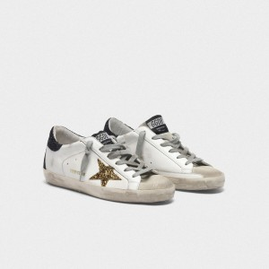 Women Golden Goose GGDB Superstar With Gold Star And Glittery Black Sneakers