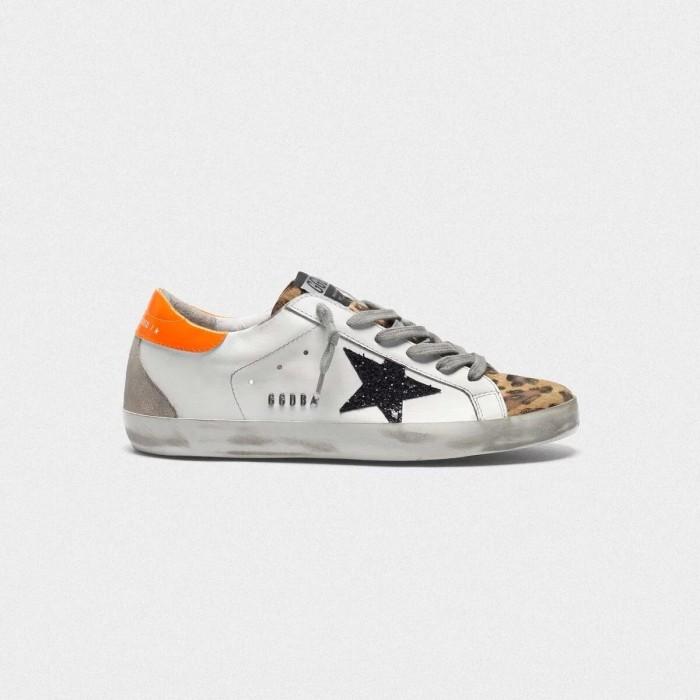 Women Golden Goose GGDB Superstar With Leopard Print Black Star And Orange Sneakers