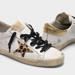 Women Golden Goose GGDB Superstar With Leopard Print Star Sneakers