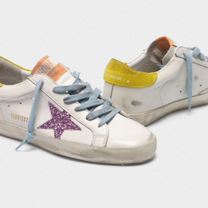 Women Golden Goose GGDB Superstar With Pink Glittery Star And Yellow Sneakers