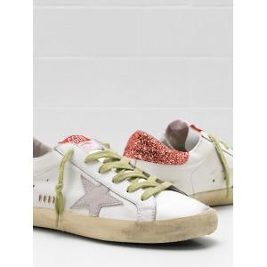 Women Golden Goose GGDB Superstar Upper In Calf Leather Suede Star Glitter Coated Orange Sneakers
