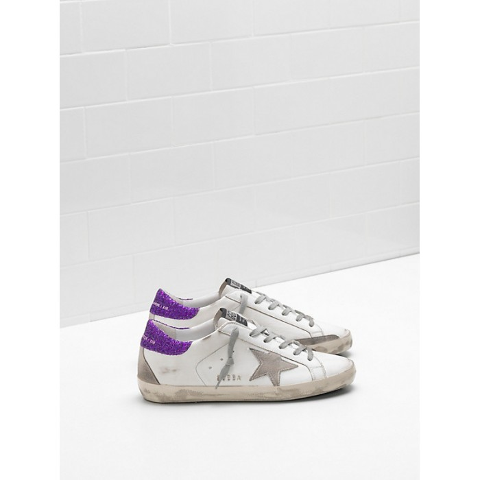 Women Golden Goose GGDB Superstar Upper In Calf Leather Suede Star Glitter Coated Purple Sneakers