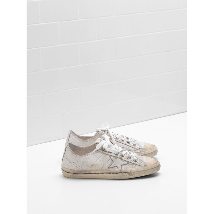 Women Golden Goose GGDB V Star 2 Upper In Crackle Effect Calf Leather Sneakers